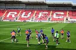 Bristol rovers warm up prior to kick off. - Mandatory by-line: Alex James/JMP - 21/04/2018 - FOOTBALL - Aesseal New York Stadium - Rotherham, England - Rotherham United v Bristol Rovers - Sky Bet League One