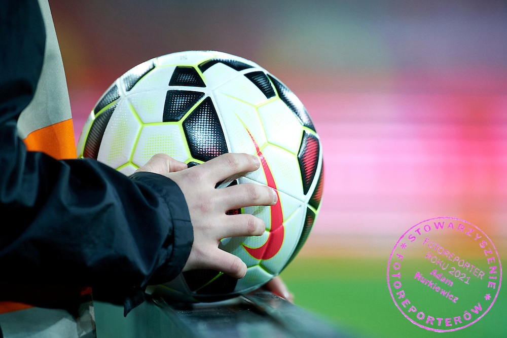 Ball Kid holds official Nike ball during international friendly soccer match between Poland and Greece at PGE Arena Stadium on June 16, 2015 in Gdansk, Poland.<br /> Poland, Gdansk, June 16, 2015<br /> <br /> Picture also available in RAW (NEF) or TIFF format on special request.<br /> <br /> For editorial use only. Any commercial or promotional use requires permission.<br /> <br /> Adam Nurkiewicz declares that he has no rights to the image of people at the photographs of his authorship.<br /> <br /> Mandatory credit:<br /> Photo by &copy; Adam Nurkiewicz / Mediasport