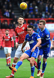 Milan Djuric of Bristol City challenges Jonas Knudsen of Ipswich Town for the highball  - Mandatory by-line: Nizaam Jones/JMP - 17/03/2018 - FOOTBALL - Ashton Gate Stadium- Bristol, England - Bristol City v Ipswich Town - Sky Bet Championship