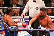 Tony Bellew throws a punch at David Haye and knocks him to the floor at the O2 Arena, London, United Kingdom on 5 May 2018. Picture by Phil Duncan.