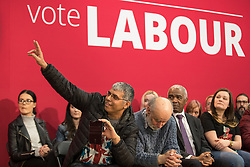 © Licensed to London News Pictures . 22/03/2018. Manchester, UK. Members of the audience ask questions as Jeremy Corbyn and Andrew Gwynne host a Q&A as Jeremy Corbyn and Shadow Cabinet members launch the Labour Party's local election campaign at Stretford Sports Village in Trafford . Photo credit: Joel Goodman/LNP