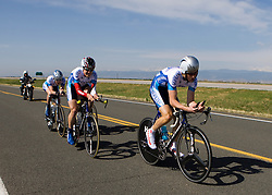 The Johns Hopkins University team of Ryan Bloom, Nathan Coleman, Michael Retzlaff, and Toby Weatherall competes in the men's division 2 race.  The 2008 USA Cycling Collegiate National Championships Team Time Trial event was held near Wellington, CO on May 9, 2008.  Teams of 3 or 4 riders raced over a 20km out and back course that ran along a service road to Interstate 25.