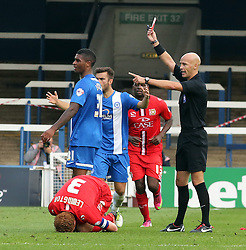 Peterborough United's Mark Little is sent-off for a challenge on Milton Keynes Dons' Dean Lewington - Photo mandatory by-line: Joe Dent/JMP - Tel: Mobile: 07966 386802 21/09/2013 - SPORT - FOOTBALL - London Road Stadium - Peterborough - Peterborough United V MK Dons - Sky Bet League 1