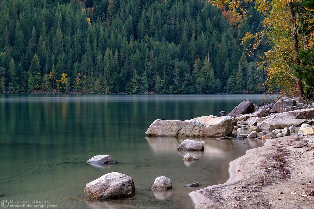 Rocky shoreline at Chilliwack Lake in Chilliwack Lake Provincial Park, Chilliwack, British Columbia, Canada