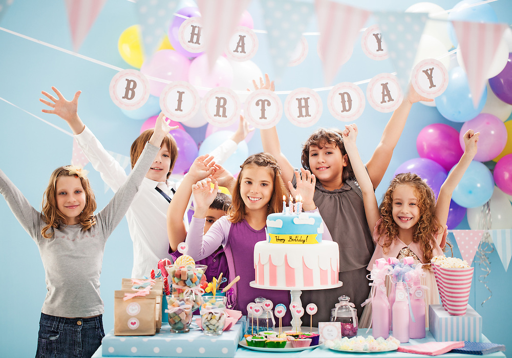 Group of children having fun at a birthday party.