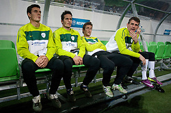 Sinisa Andzelkovic, Zlatan Ljubijankic, Armin Bacinovic and Jasmin Handanovic during EURO 2012 Quaifications game between National teams of Slovenia and Italy, on March 25, 2011, SRC Stozice, Ljubljana, Slovenia. Italy defeated Slovenia 1-0.  (Photo by Vid Ponikvar / Sportida)