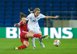 CARDIFF, WALES - Tuesday, August 21, 2014: England's Toni Duggan in action against Wales during the FIFA Women's World Cup Canada 2015 Qualifying Group 6 match at the Cardiff City Stadium. (Pic by Ian Cook/Propaganda)