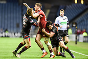 Alex Wooton under pressure during the Guinness Pro 14 2017_18 match between Edinburgh Rugby and Munster Rugby at Myreside Stadium, Edinburgh, Scotland on 16 March 2018. Picture by Kevin Murray.