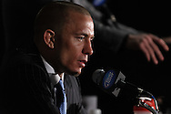"NEWARK, NEW JERSEY, MARCH 28, 2010: UFC welterweight champion Georges St. Pierre is pictured at the post-fight press conference for ""UFC 111: St. Pierre vs. Hardy"" in the Prudential Center, New Jersey on March 28, 2010."