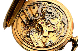 L. Leroy & co. gold pocket watch jeweled interior workings