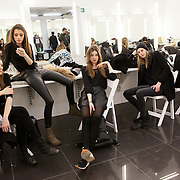 Milano, February 22nd, 2015. Models waiting for their turn at the fitting for Next Generation, fashion show to present young fashion deisgners.