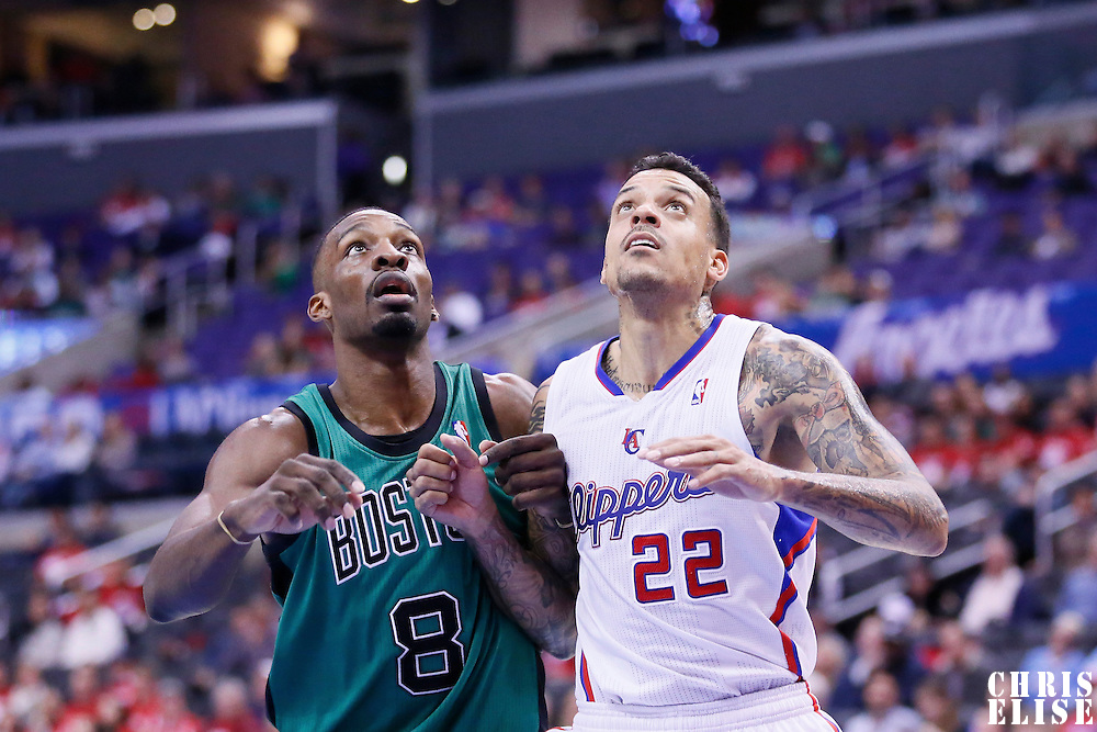 08 January 2014: Boston Celtics small forward Jeff Green (8) vies for the rebound with Los Angeles Clippers small forward Matt Barnes (22) during the Los Angeles Clippers 111-105 victory over the Boston Celtics at the Staples Center, Los Angeles, California, USA.