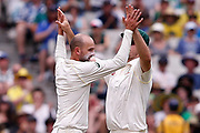 Nathan Lyon celebrates a wicket during day three of the Australia v England fourth test at the Melbourne Cricket Ground, Melbourne, Australia on 28 December 2017. Photo by Mark  Witte.