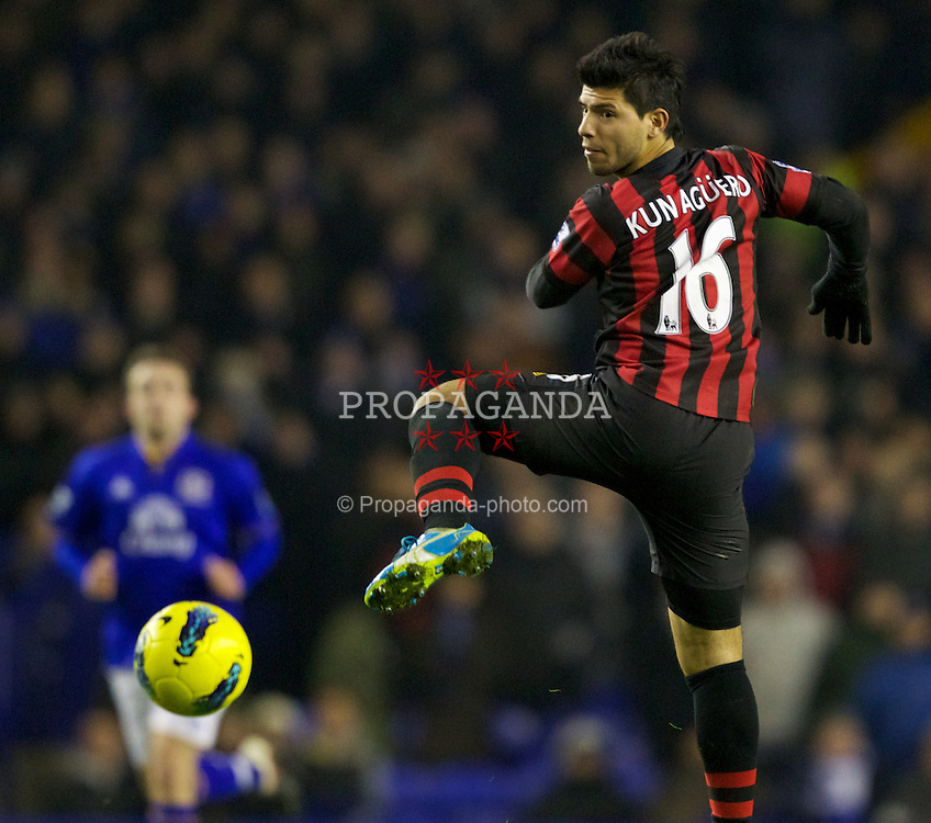 LIVERPOOL, ENGLAND - Tuesday, January 31, 2012: Manchester City's Sergio Aguero in action against Everton during the Premiership match at Goodison Park. (Pic by Vegard Grott/Propaganda)