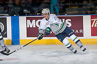 KELOWNA, CANADA - DECEMBER 7: Mathew Barzal #13 of the Seattle Thunderbirds digs for the puck against the Kelowna Rockets on December 7, 2016 at Prospera Place in Kelowna, British Columbia, Canada.  (Photo by Marissa Baecker/Shoot the Breeze)  *** Local Caption ***