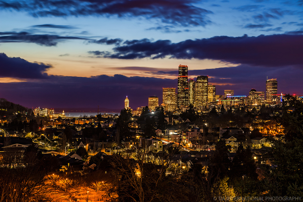 Seattle Skyline Blue Hour Dynamic