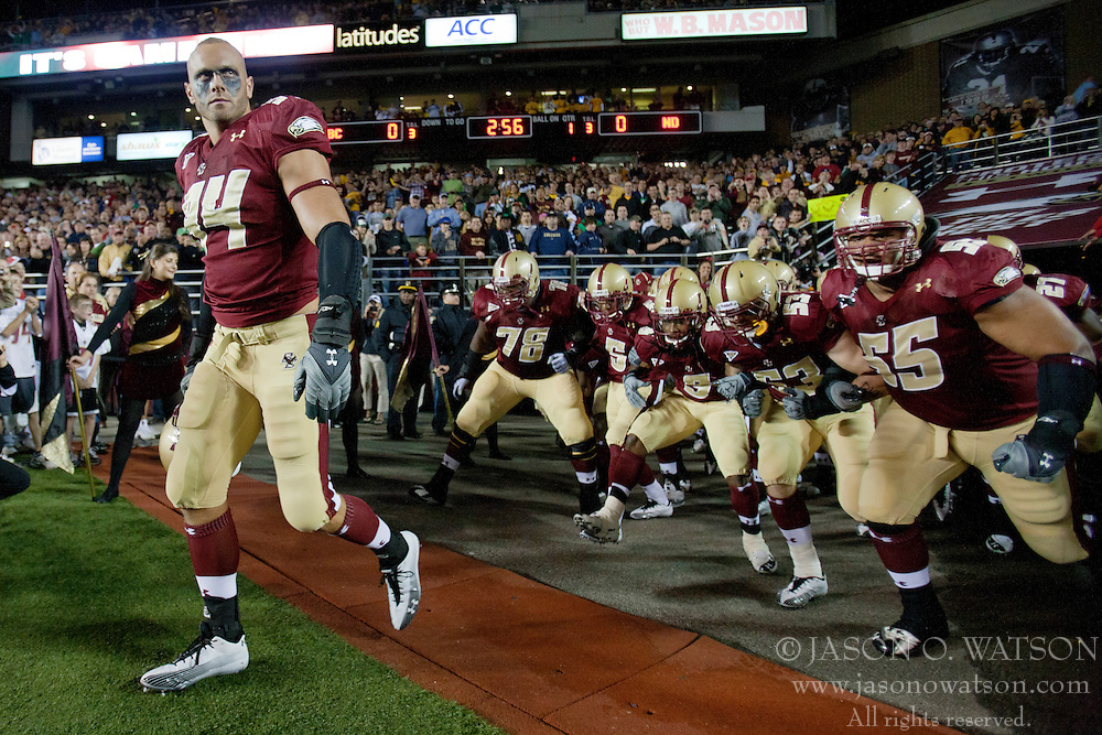 October 2, 2010; Chestnut Hill, MA, USA;  Boston College Eagles linebacker Mark Herzlich (94) leads his team on to the field before the game against the Notre Dame Fighting Irish at the Alumni Stadium.