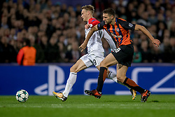 17-10-2017 NED, UEFA CL, Feyenoord - FC Shakhtar Donetsk, Rotterdam<br /> UEFA Champions League Round of 16, 3rd Leg match between Feyenoord vs. Donetsk at the stadion DE Kuip in Rotterdam / Nicolai Jorgensen #9 of Feyenoord, Ivan Ordets #18 of Shakhtar Donetsk