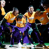 15 August 2014: Los Angeles Sparks forward/center Candace Parker (3), Los Angeles Sparks forward/center Sandrine Gruda (7), and other players are seen during the players introduction prior to  the Los Angeles Sparks 77-65 victory over the Seattle Storm, at the Staples Center, Los Angeles, California, USA.
