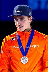 13-01-2019 NED: ISU European Short Track Championships 2019 day 3, Dordrecht<br /> Team Netherlands Dennis Visser pose in the Men's Relay medal ceremony during the ISU European Short Track Speed Skating Championships.