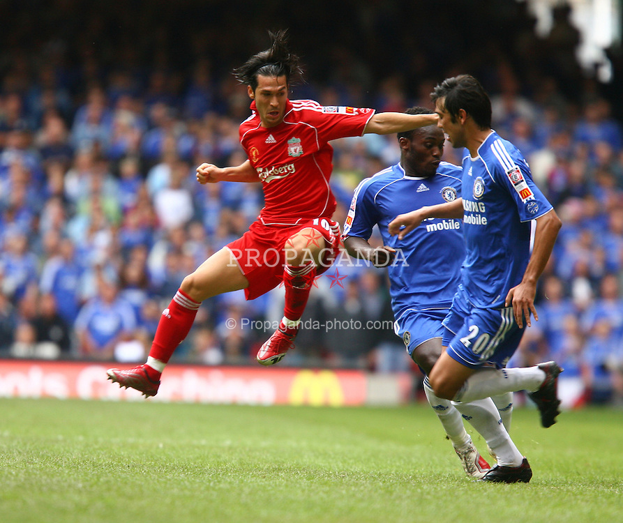 CARDIFF, WALES - SUNDAY, AUGUST 13th, 2006: Liverpool's Luis Garcia in action against Chelsea during the Community Shield match at the Millennium Stadium. (Pic by David Rawcliffe/Propaganda)