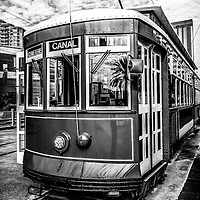 New Orleans streetcar black and white picture on Canal Street in downtown New Orleans Louisiana.