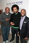 New York, NY- MARCH 10:  (L-R) Video Music Box Founder Ralph McDaniels, Visual Artist Tahir Hemphill and Visual Artist Ali Santana at the Opening Reception of ' THE BOX THAT ROCKS: 30 Years of Video Music Box and the Rise of Hip Hop Music & Culture held at the Museum of Contemporary African Diasporan Arts (MoCADA) on March 10, 2012 in Brooklyn, New York City. (Photo by Terrence Jennings)