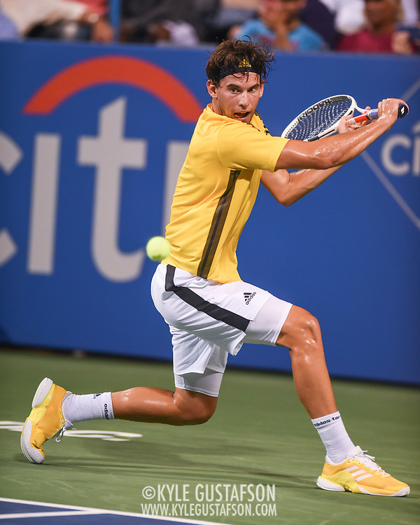 DOMINIC THIEM hits a backhand during his second round match at the Citi Open at the Rock Creek Park Tennis Center in Washington, D.C.