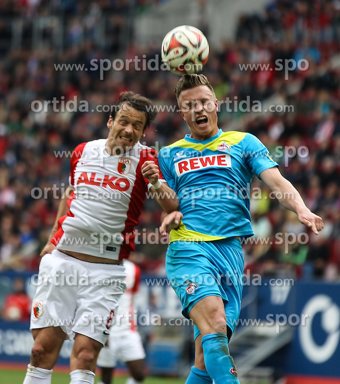 02.05.2015, SGL Arena, Augsburg, GER, 1. FBL, FC Augsburg vs 1. FC Koeln, 31. Runde, im Bild Kopfballduell zwischen Markus Feulner (FC Augsburg #8) und Yannik Gerhardt (1. FC Koeln, re.), // during the German Bundesliga 31th round match between FC Augsburg and 1. FC Cologne at the SGL Arena in Augsburg, Germany on 2015/05/02. EXPA Pictures &copy; 2015, PhotoCredit: EXPA/ Eibner-Pressefoto/ Krieger<br /> <br /> *****ATTENTION - OUT of GER*****