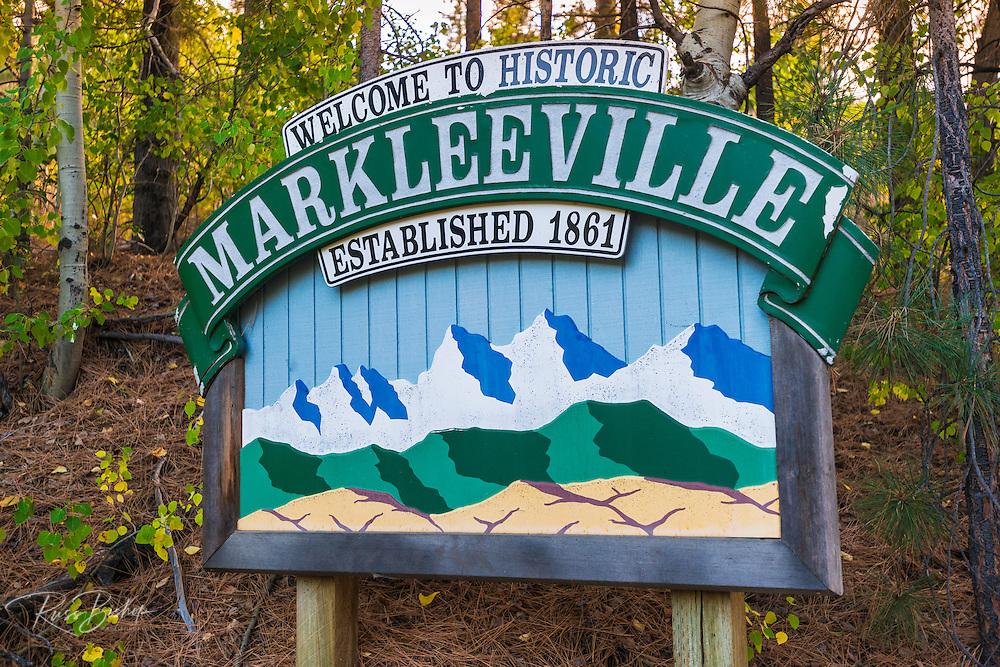 Town sign, Markleeville, California USA