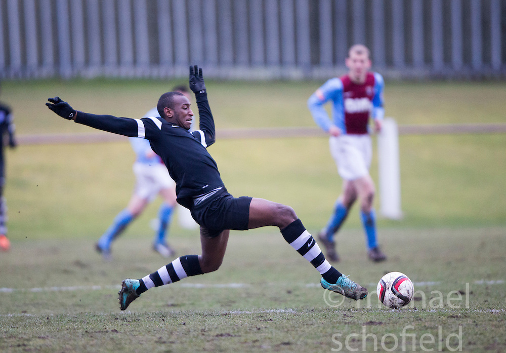Edusport Academy Ibrahim Diallo. <br /> Whitehill Welfare 2 v 1 Edusport Academy, South Challenge Cup Quarter Final played 7/3/2015 at Ferguson Park, Carnethie Street, Rosewell.