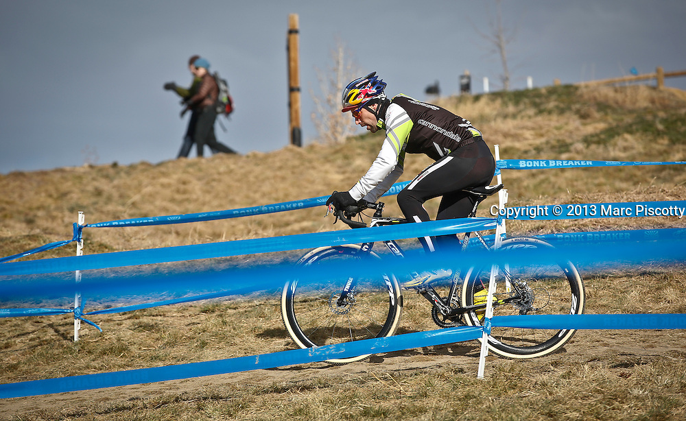 SHOT 1/12/14 1:07:32 PM -  Timothy Johnson of Topsfield, Ma. warms up before competing in the Men's Elite race at the 2014 USA Cycling Cyclo-Cross National Championships at Valmont Bike Park in Boulder, Co. Johnson finished third in the race. (Photo by Marc Piscotty / © 2014)