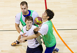 Uros Bundalo, Jure Dolenec and Jure Dobelsek during the Training Camp before IHF Men's Handball World Championship Spain 2013 on January 9, 2013 in Zrece, Slovenia. (Photo By Vid Ponikvar / Sportida.com)