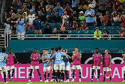 July 28, 2018 - Miami Gardens, FL, USA - Manchester City players celebrate a goal by Bernardo Silva during the second half against Bayern Munich in an International Champions Cup match at Hard Rock Stadium in Miami Gardens, Fla., on Saturday, July 28, 2018. (Credit Image: © Sam Navarro/TNS via ZUMA Wire)