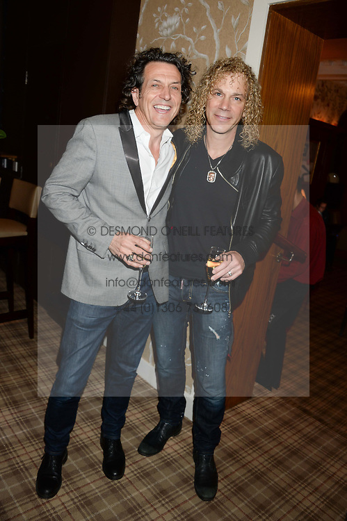 Left to right, STEPHEN WEBSTER and DAVID BRYAN at the Blue Monday Cheese Launch presented by Alex James and held at The Cadogan Hotel, Sloane street, London on 11th June 2013.