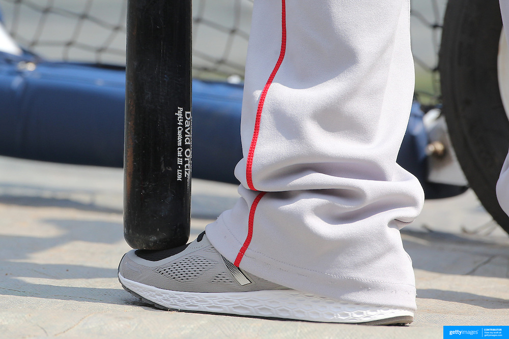 NEW YORK, NEW YORK - July 10: David Ortiz #34 of the Boston Red Sox rests his bat on his foot during batting practice before the Boston Red Sox Vs New York Yankees regular season MLB game at Yankee Stadium on July 10, 2016 in New York City. (Photo by Tim Clayton/Corbis via Getty Images)