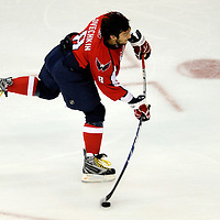 28 April 2009:  Washington Capitals left wing Alex Ovechkin (8) warms up prior to the game against the New York Rangers in the seventh game of the Eastern Conference NHL quarterfinal playoff game at the Verizon Center in Washington, D.C.  The Washington Capitals defeated the New York Rangers 2-1 in the Eastern Conference NHL quaterfinal playoff to advance to the second round of the playoffs.