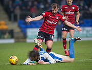 30th December 2017, McDiarmid Park, Perth, Scotland; Scottish Premiership football, St Johnstone versus Dundee; Dundee's Paul McGowan flattens St Johnstone's Murray Davidson