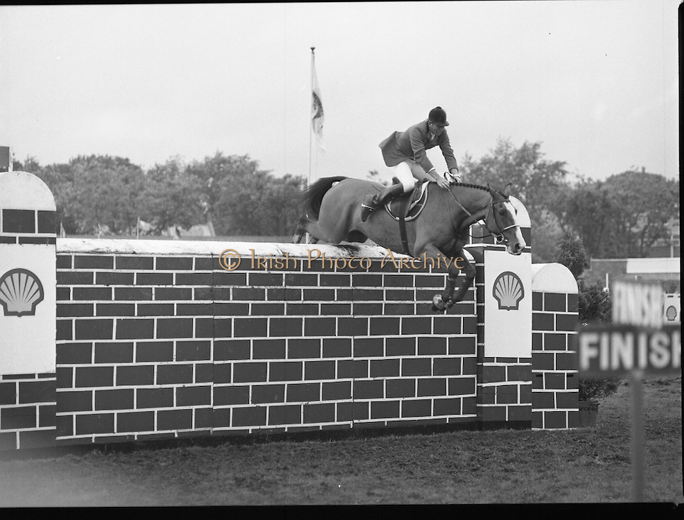 Shell Sponsored Events At The Dublin Horse Show.(R39).1986..07.08.1986..08.07.1986..7th August 1986..At the Horse Show Shell sponsored both the Speed and Power competition and The Puissance..The Speed and Power event was won by Hap Hanson riding 'Gambrinus'. The Puissance was shared by Capt John Ledingham (Irl) on 'Kilcoltrim' and Nick Skelton (GB) on 'Raffles Apollo' who both cleared the high wall at 7feet...Picture shows Nick Skelton (GB) clearing the wall at 7 feet on 'Raffles Apollo to tie the event with Capt John Ledingham on 'Kilcoltrim'
