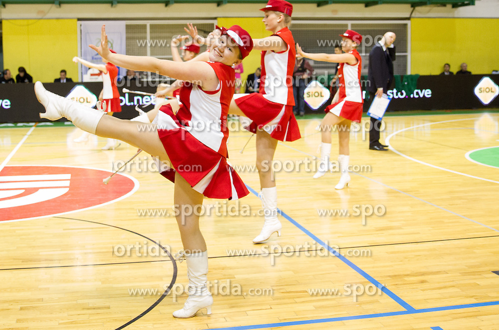 Cheerleaders perform during basketball match between KK Krka and KK Union Olimpija in 3rd Final match of Telemach League 2012/13 on May 17, 2013 in Arena Leon Stukelj, Novo mesto, Slovenia. (Photo By Vid Ponikvar / Sportida)