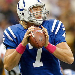 October 23, 2011; New Orleans, LA, USA; Indianapolis Colts quarterback Curtis Painter (7) against the New Orleans Saints during the first quarter of a game at the Mercedes-Benz Superdome. Mandatory Credit: Derick E. Hingle-US PRESSWIRE / © Derick E. Hingle 2011