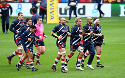 Bristol Rugby players during warm-up - Mandatory by-line: Paul Knight/JMP - 26/02/2017 - RUGBY - Ashton Gate - Bristol, England - Bristol Rugby v Bath Rugby - Aviva Premiership
