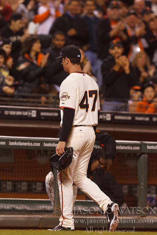 September 12, 2011; San Francisco, CA, USA;  San Francisco Giants starting pitcher Eric Surkamp (47) returns to the dugout after being relieved during the sixth inning against the San Diego Padres at AT&T Park.