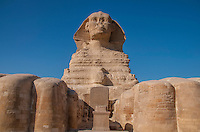 Interesting perspective of the Sphinx as seen from the base of the feet.  In Giza, Egypt.