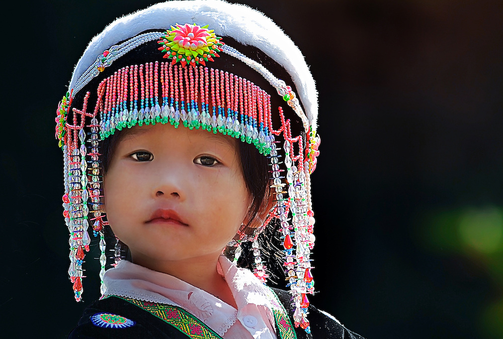 A young Hong girl during the Hmong new year celebrations in Luang Prabang, Laos.