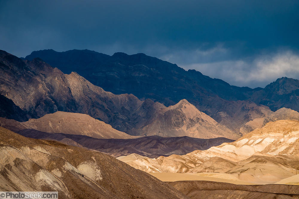 Mountain views of Death Valley National Park from Furnace Creek Campground, California, USA.