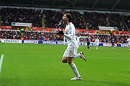 Swansea city's Michu celebrates after he scores the 1st goal. FA cup with Budweiser, 3rd round match, Swansea city v Arsenal at the Liberty Stadium in Swansea, South Wales on Sunday  6th Jan 2013. pic by Andrew Orchard, Andrew Orchard sports photography,