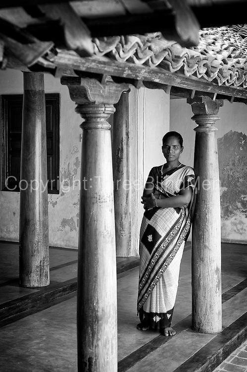 Ms Karai Selvi inside a recently restored house in Tarangambadi (Tranquebar) in South India.