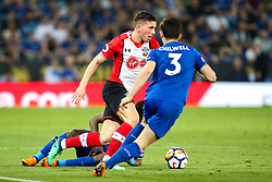 Pierre-Emile Hojbjerg of Southampton takes on Ben Chilwell of Leicester City - Mandatory by-line: Robbie Stephenson/JMP - 19/04/2018 - FOOTBALL - King Power Stadium - Leicester, England - Leicester City v Southampton - Premier League