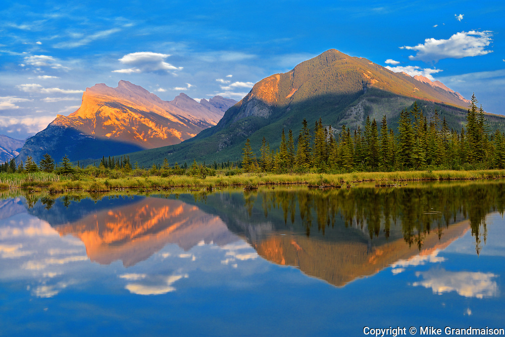 Mt. Rundle and Sulfur Mountain reflected in Vermillion Lakes<br /> Banff National Park<br /> Alberta<br /> Canada